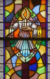 Baptism. Seven Sacraments, Stained glass royalty free stock image