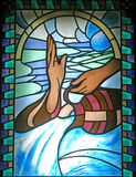 Baptism. Stained glass, church window Royalty Free Stock Images