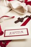Baptism announcement,  invite and crucifix. Baptism announcement - invite and crucifix Royalty Free Stock Photo