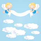 Baptism background. Baby baptism background with small angel Stock Images