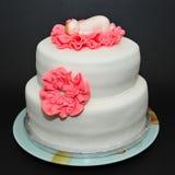 Baptism cake - two tier white fondant cake Stock Photos