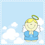 Baptism card background. Cute little angel with candle in heaven Royalty Free Stock Image