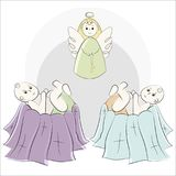 Baptism of the child in the church, christening. Vector set of isolated elements, drawn by hand. Used for postcards Stock Photo