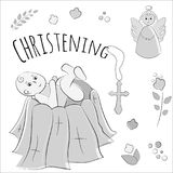 Baptism of the child in the church, christening. Vector set of isolated elements, drawn by hand. Used for postcards Stock Photos