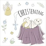 Baptism of the child in the church, christening. Vector set of isolated elements, drawn by hand. Used for postcards, congratulatio Royalty Free Stock Images