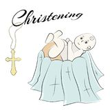 Baptism of the child in the church, christening. Vector set of isolated elements, drawn by hand. Used for postcards Royalty Free Stock Photos