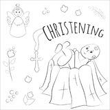 Baptism of the child in the church, christening. Vector set of isolated elements, drawn by hand. Used for postcards, congratulatio Royalty Free Stock Photography