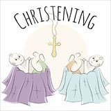 Baptism of the child in the church, christening. Vector set of isolated elements, drawn by hand. Used for postcards, congratulatio Stock Photo