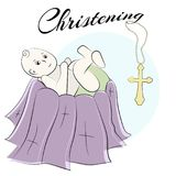 Baptism of the child in the church, christening. Vector set of isolated elements, drawn by hand. Used for postcards, congratulatio Stock Image