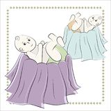 Baptism of the child in the church, christening. Vector set of isolated elements, drawn by hand. Used for postcards Royalty Free Stock Image