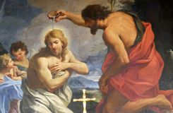 Baptism of Christ. The Baptism of Christ, Chapel of St John the Baptist, Basilica di Sant Andrea delle Fratte, Rome, Italy stock photos