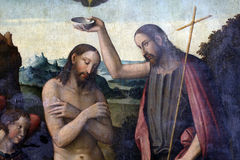 Baptism of Christ. Bartolomeo Coda: Baptism of Christ, exhibited at the Great Masters Renaissance in Croatia, opened December 12, 2011. in Zagreb, Croatia stock photography