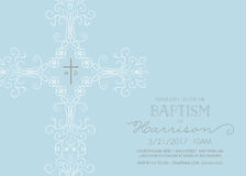 Baptism, Christening, Communion, or Confirmation Invitation Template. With intricate cross Royalty Free Stock Photo