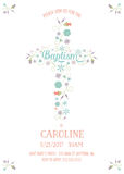Baptism, Christening, Communion - Religious Occasion Card Template. With Cross and Flowers - customizable with white background - jpeg or vector royalty free illustration
