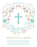 Baptism, Christening, First Holy Communion Invitation Template with Cross and Floral Border Royalty Free Stock Image