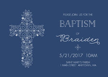 Baptism, Christening Invitation Template with Ornate Cross Design - Vector Stock Photos