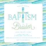 Baptism, Christening Invitation Template - Watercolor Cross, Background Royalty Free Stock Photography