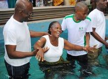 BAPTISM IN CHURCH EVENGELIQUE Stock Photos