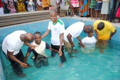 BAPTISM IN CHURCH EVENGELIQUE Stock Photo