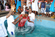 BAPTISM BY IMMERSION Stock Photography