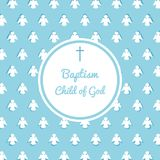 Baptism invitation template. Baptism invitation card template. Stock vector illustration for baby christening ceremony, communion or confirmation Royalty Free Stock Photos