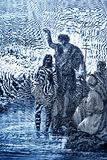 The Baptism of Jesus. The biblical theme - illustrated by Gustave Dore (1885 Royalty Free Stock Photography