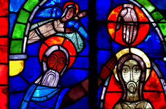 Baptism of Jesus Christ in stained glass. A photo of the baptism of Jesus Christ in stained glass stock images