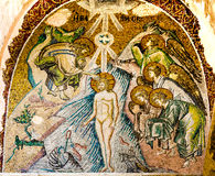Baptism of Jesus In The Jordan River. A byzantine mosaic in the Pammarkaristos church, Istanbul, Turkey - October 11, 2013 stock photos