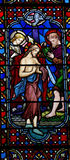 Baptism of Jesus. A photo of a stained glass window of the baptism of Jesus Stock Photo