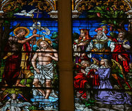 Baptism of Jesus by Saint John - Stained Glass in Burgos Cathedr Royalty Free Stock Images