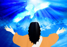 The Baptism of Jesus. Jesus saw the heavens open up and the Holy Spirit descending like a dove Royalty Free Stock Images