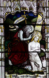Baptism of Jesus in stained glass Royalty Free Stock Images