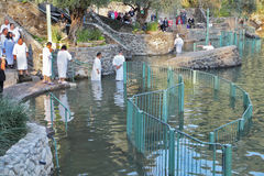 Baptism in the Jordan River Stock Image