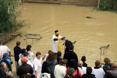 The baptism in the Jordan River, Israel Royalty Free Stock Image