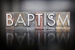 Baptism Letterpress. The word BAPTISM written in vintage letterpress type royalty free stock photography