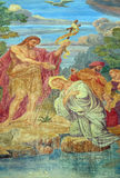 Baptism of the Lord. Fresco on the facade of St Nicholas Cathedral in Ljubljana, Slovenia stock images