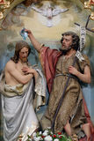 Baptism of the Lord. Statue on church altar stock photography