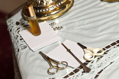 Baptism myrrh and scissors Royalty Free Stock Photography