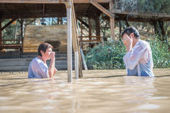 Baptism for pilgrims in river of Jordan, the place which is beli Royalty Free Stock Photography