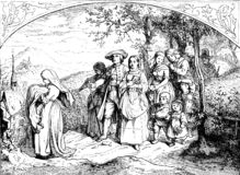 Baptism procession to the church, old print royalty free illustration