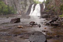 Baptism River High Falls. A waterfall on Baptism River in Minnesota Royalty Free Stock Image