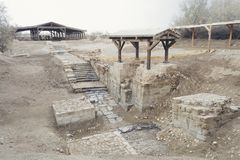 "Baptism Site ""Bethany Beyond the Jordan"". Baptism Site `Bethany Beyond the Jordan` where Jesus was baptized by John the Baptist in the Jordan River. The Stock Photo"