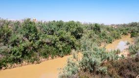 Baptism Site, Jordan. MAY 1, 2014: River Jordan, Baptised Site, Jordan. In this river Jesus of Nazareth was baptized by John the Baptist stock photos