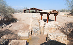 Baptism site in old historical Jordan riverbed Stock Photography