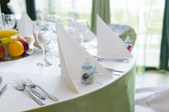 Baptism table arrangement Royalty Free Stock Image
