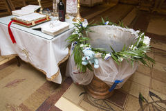 Baptism table Stock Images
