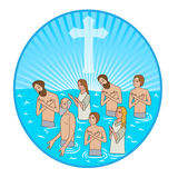 Baptism In Water. Christian Cross. Vector Illustration. Water And Spirit. Water And Holy Spirit. Stock Image