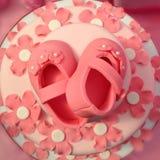 Baptismal cake. Pink Fondant cake Stock Image