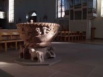 Baptismal font. (Freudenstadt, Germany Royalty Free Stock Image