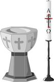 Baptismal font and paschal candle Royalty Free Stock Images